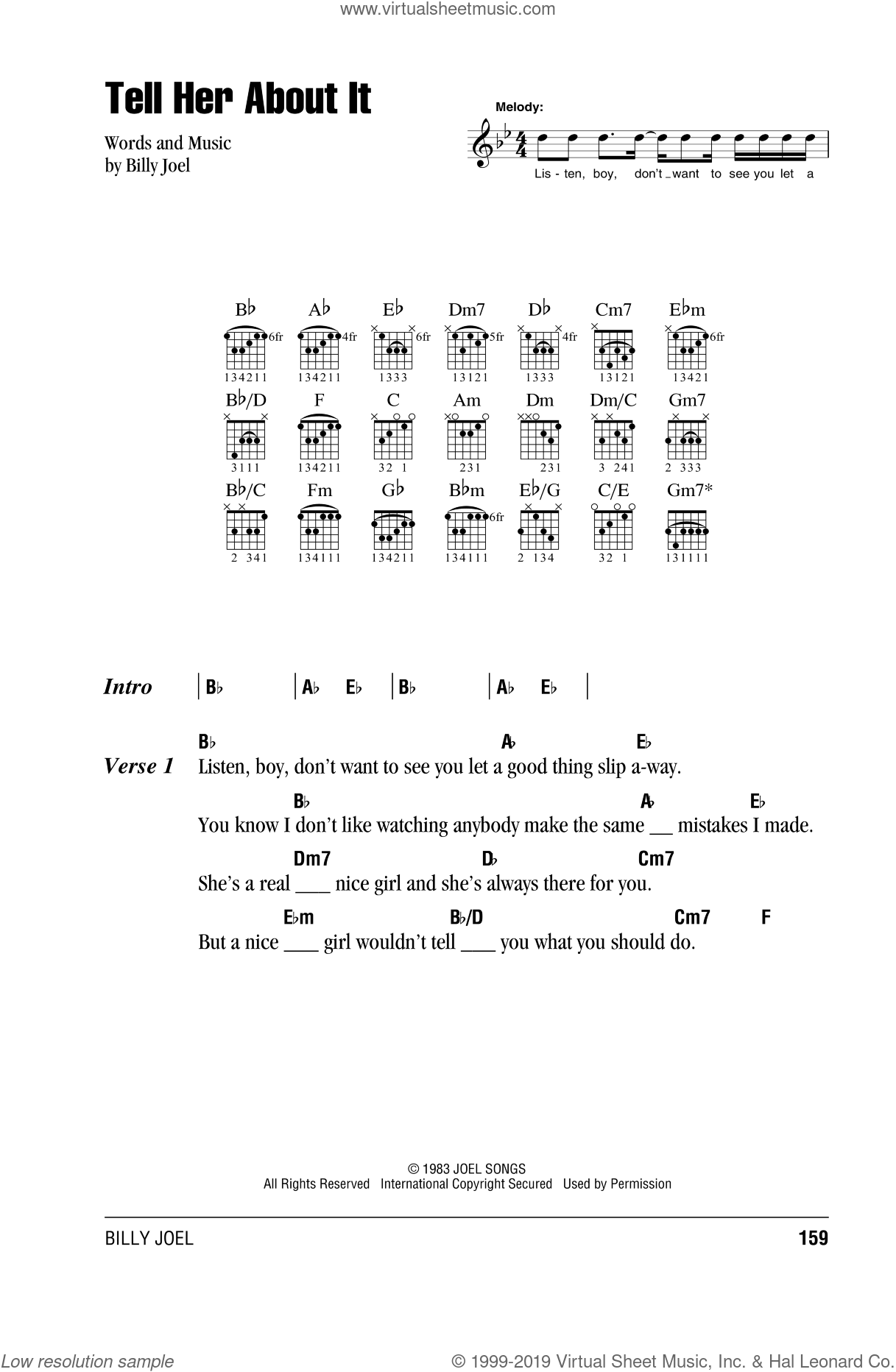 Tell Her About It sheet music for guitar (chords) by Billy Joel, intermediate skill level