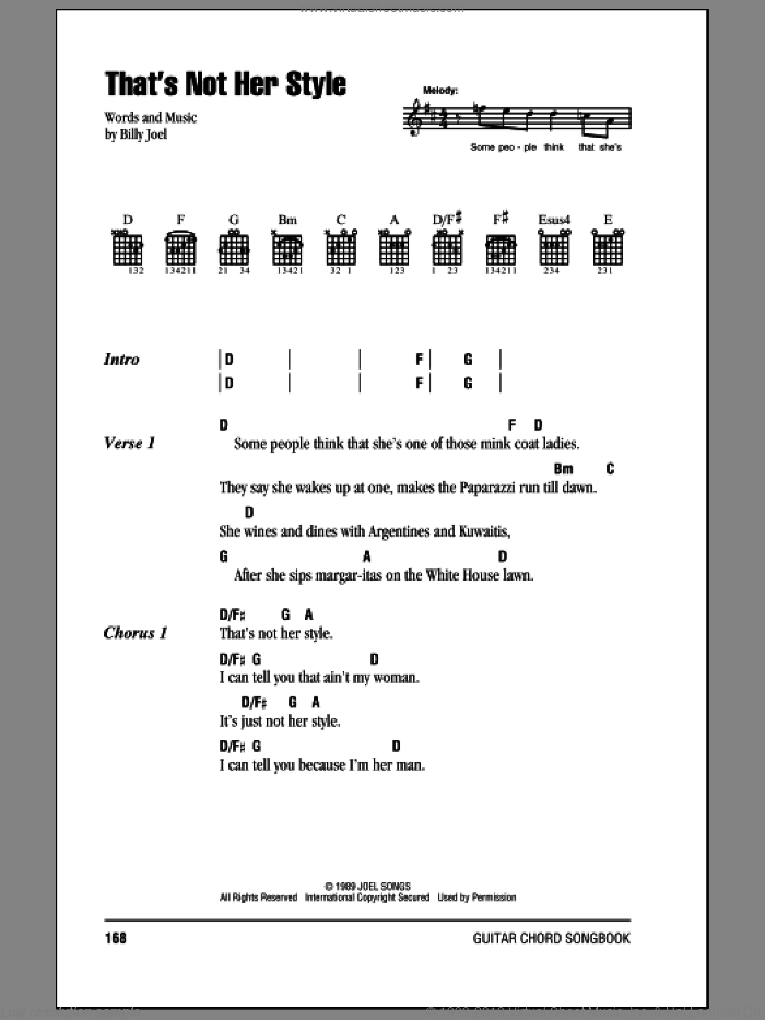 That's Not Her Style sheet music for guitar (chords) by Billy Joel. Score Image Preview.