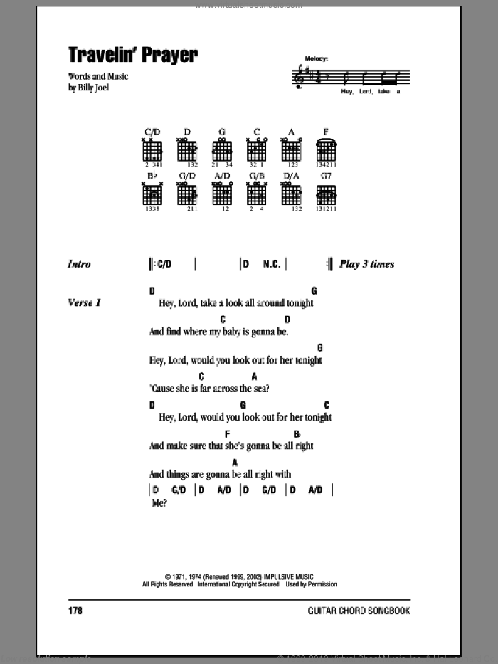 Travelin' Prayer sheet music for guitar (chords) by Billy Joel, intermediate guitar (chords). Score Image Preview.