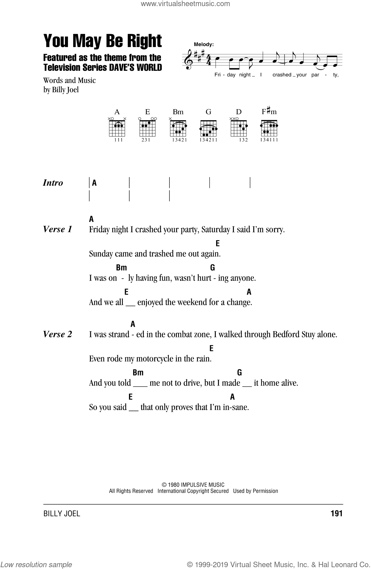 Joel - You May Be Right sheet music for guitar (chords) [PDF]