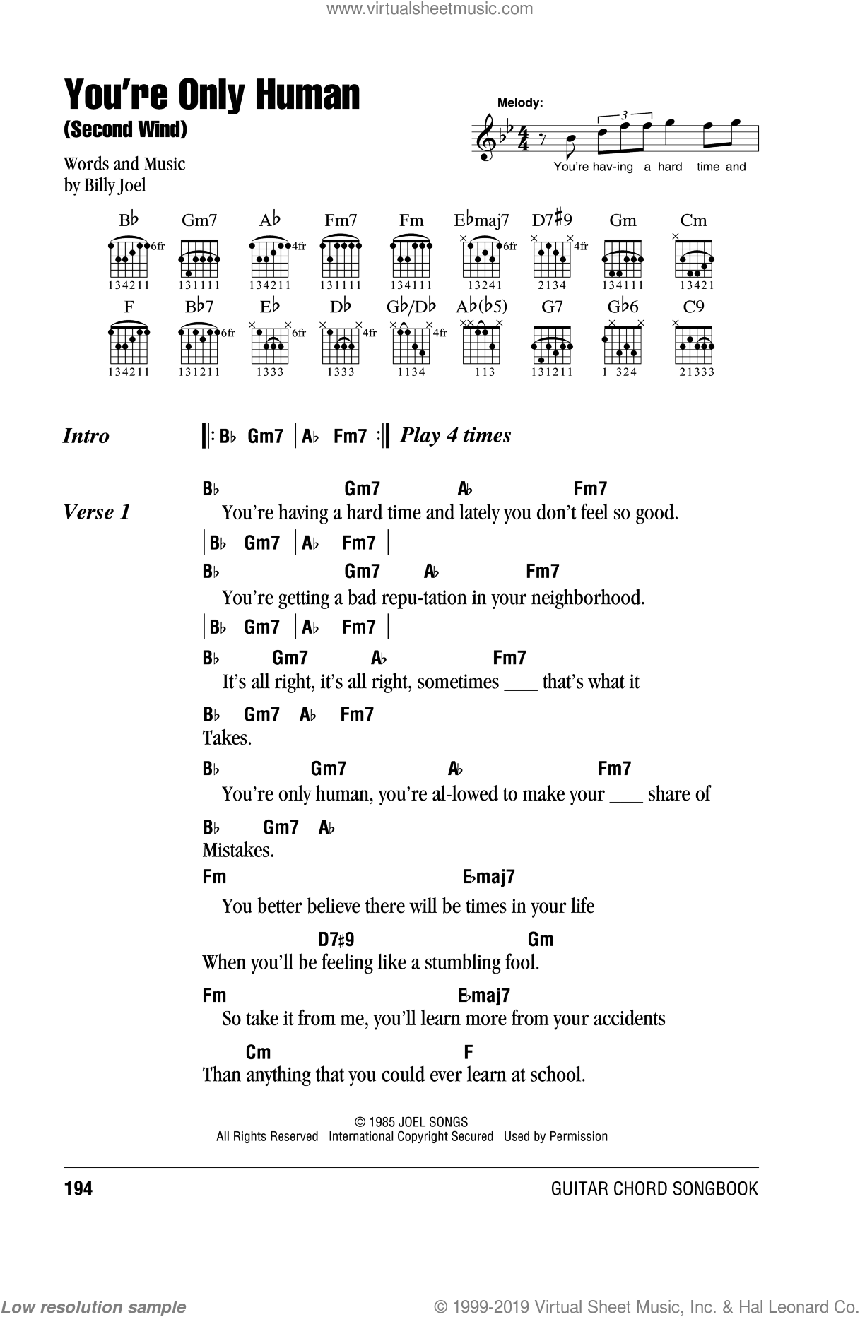 Joel - You\'re Only Human (Second Wind) sheet music for guitar (chords)