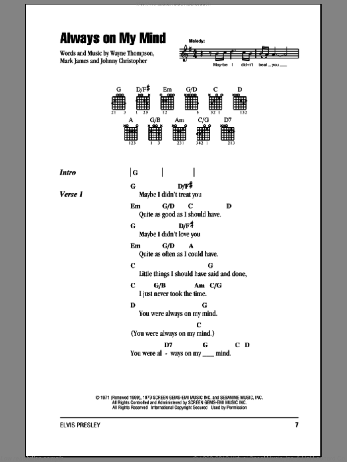 Always On My Mind sheet music for guitar (chords) by Wayne Thompson, Elvis Presley, Willie Nelson, Johnny Christopher and Mark James. Score Image Preview.