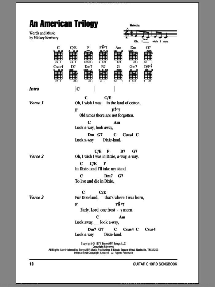 An American Trilogy sheet music for guitar (chords) by Mickey Newbury and Elvis Presley. Score Image Preview.