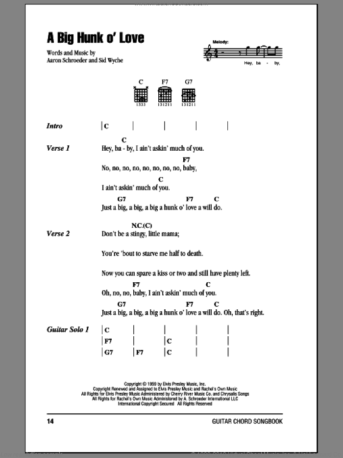 A Big Hunk O' Love sheet music for guitar (chords) by Sid Wyche, Elvis Presley and Aaron Schroeder. Score Image Preview.