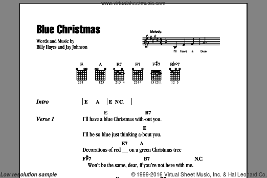 Blue Christmas sheet music for guitar (chords) by Jay Johnson, Elvis Presley and Billy Hayes. Score Image Preview.