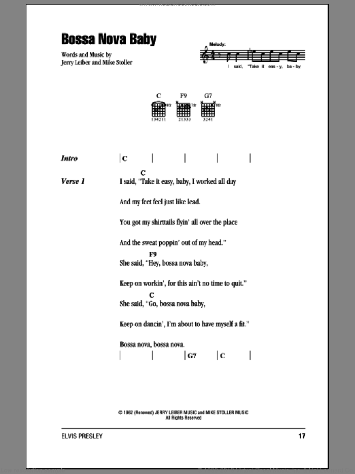 Bossa Nova Baby sheet music for guitar (chords) by Mike Stoller