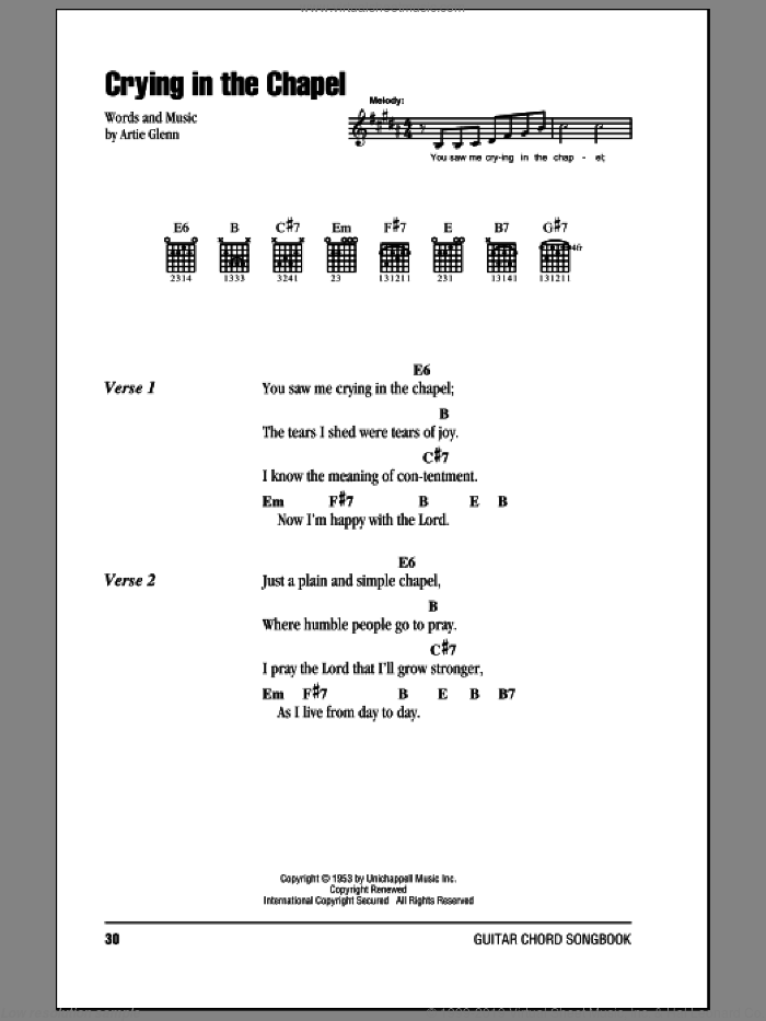 Crying In The Chapel sheet music for guitar (chords) by Artie Glenn and Elvis Presley. Score Image Preview.