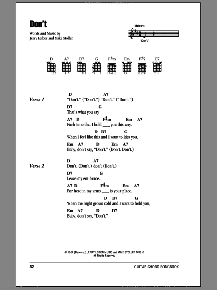 Don't sheet music for guitar (chords) by Elvis Presley, Leiber & Stoller, Jerry Leiber and Mike Stoller, intermediate skill level