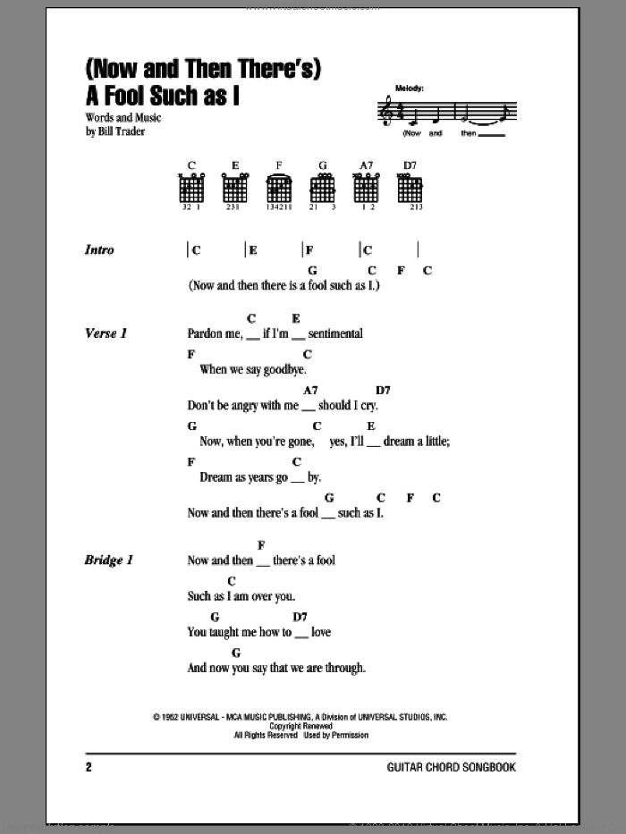 (Now And Then There's) A Fool Such As I sheet music for guitar (chords) by Bill Trader and Elvis Presley. Score Image Preview.