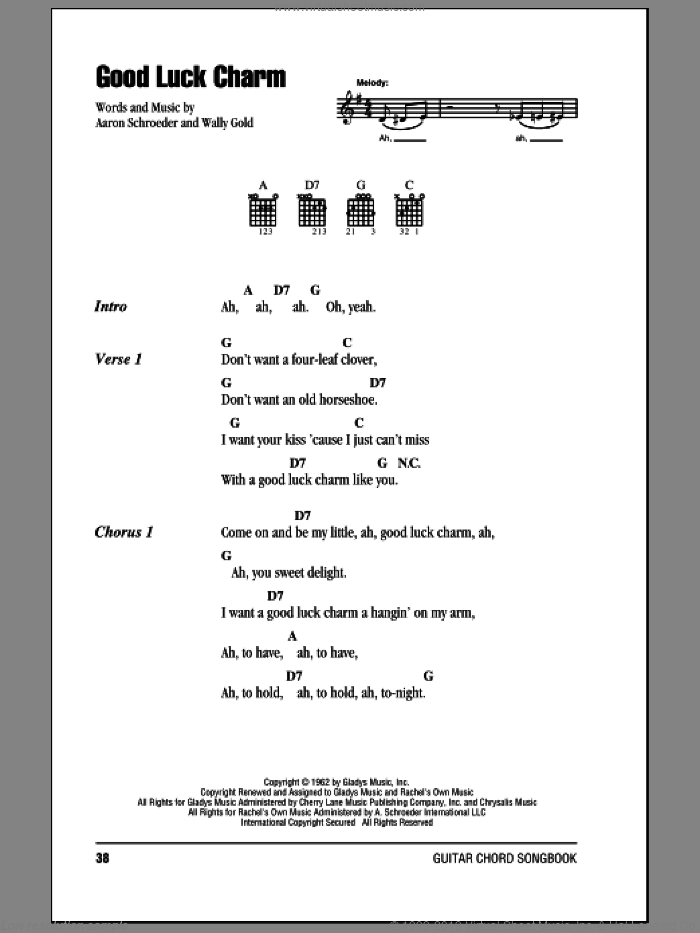 Good Luck Charm sheet music for guitar (chords) by Elvis Presley, Aaron Schroeder and Wally Gold, intermediate skill level