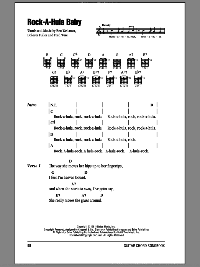 Rock-A-Hula Baby sheet music for guitar (chords) by Fred Wise, Elvis Presley and Ben Weisman. Score Image Preview.