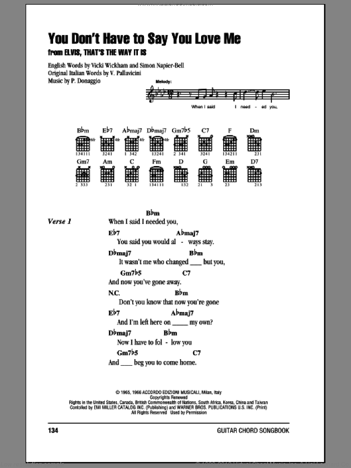 You Don't Have To Say You Love Me sheet music for guitar (chords) by Elvis Presley, intermediate. Score Image Preview.