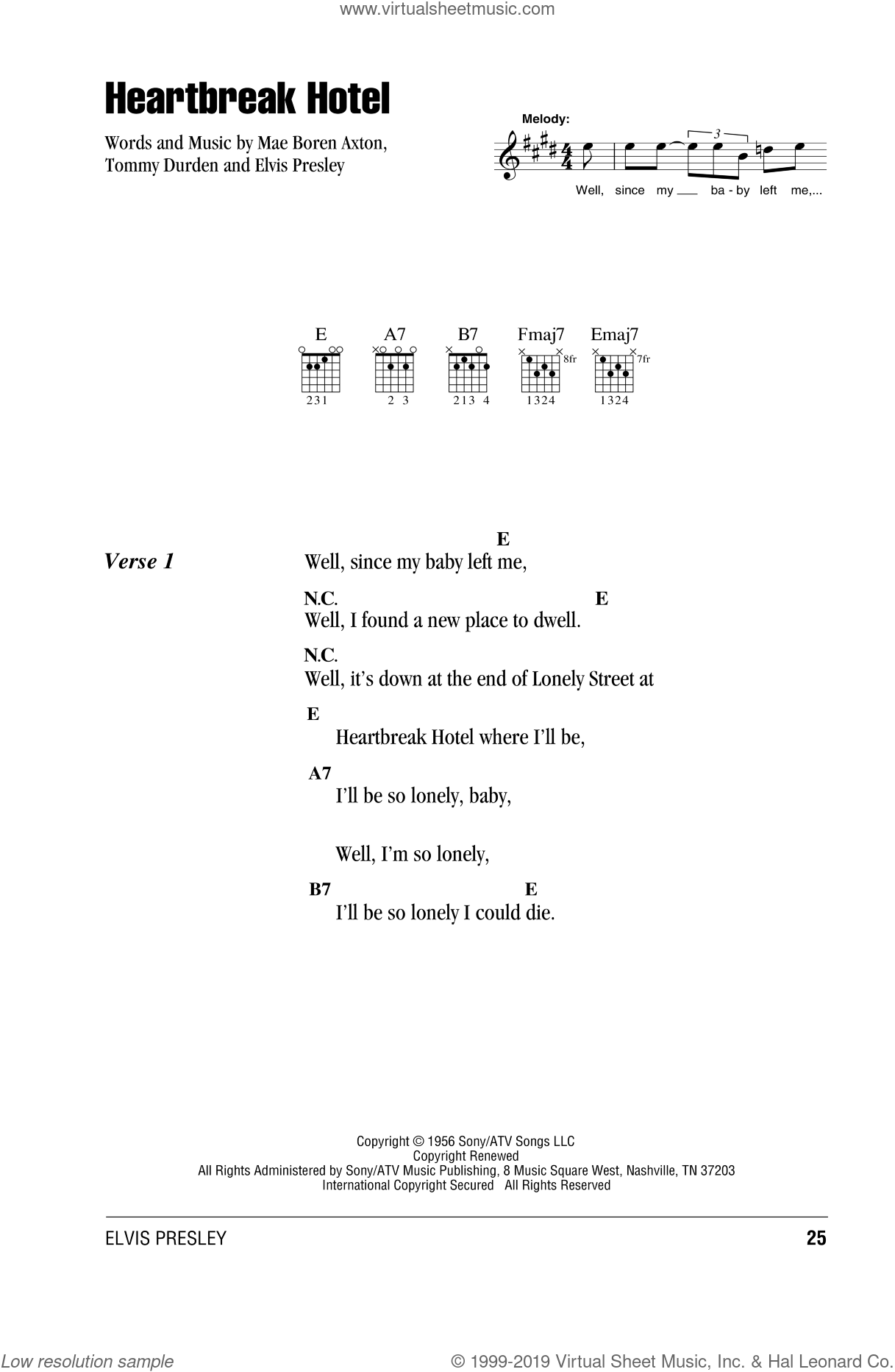 Heartbreak Hotel sheet music for guitar (chords) by Elvis Presley, Mae Boren Axton and Tommy Durden, intermediate. Score Image Preview.