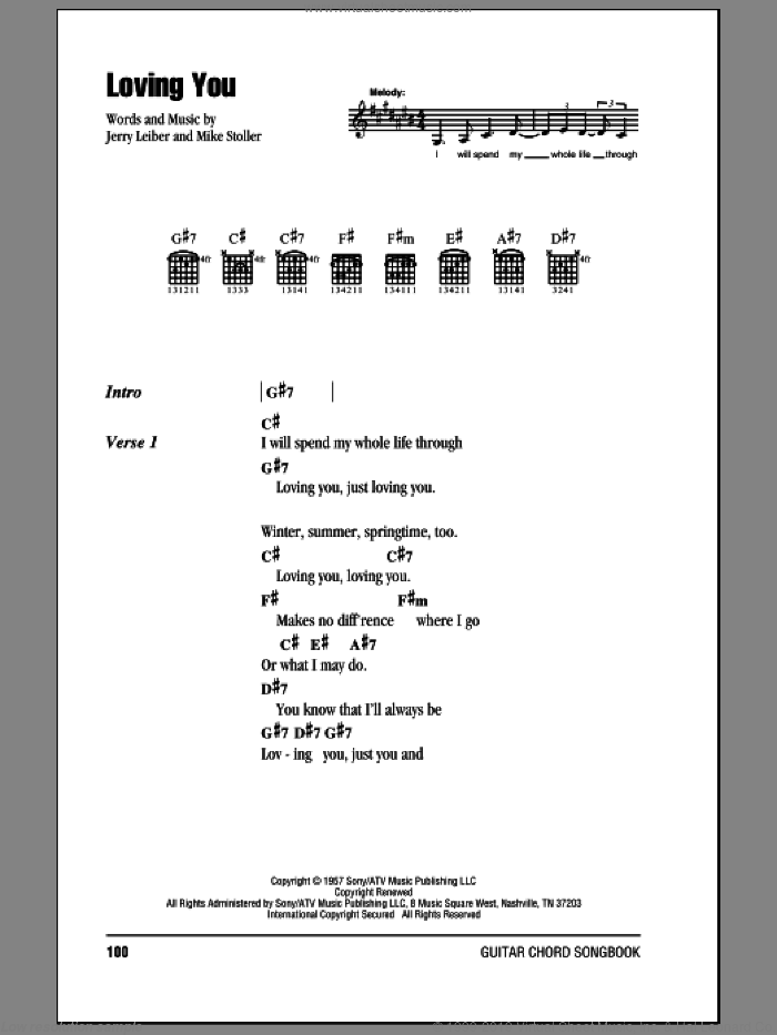 Loving You sheet music for guitar (chords) by Mike Stoller, Elvis Presley and Jerry Leiber. Score Image Preview.