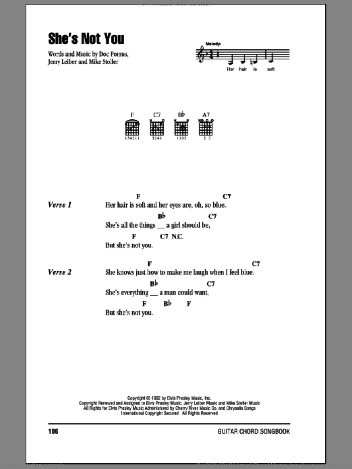 She's Not You sheet music for guitar (chords) by Elvis Presley, Doc Pomus, Jerry Leiber and Mike Stoller. Score Image Preview.