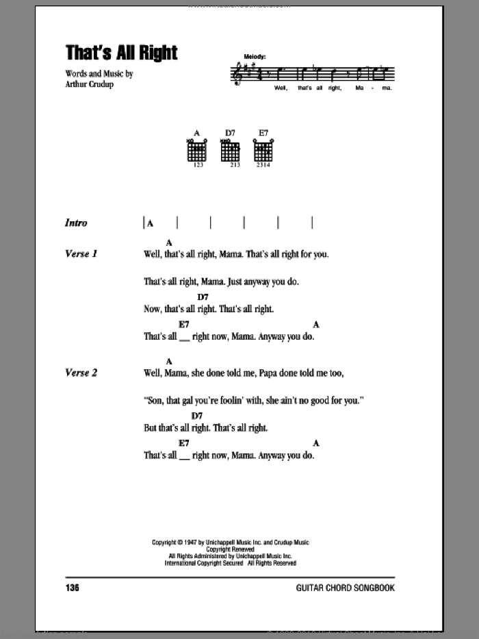 That's All Right sheet music for guitar (chords) by Elvis Presley and Arthur Crudup. Score Image Preview.