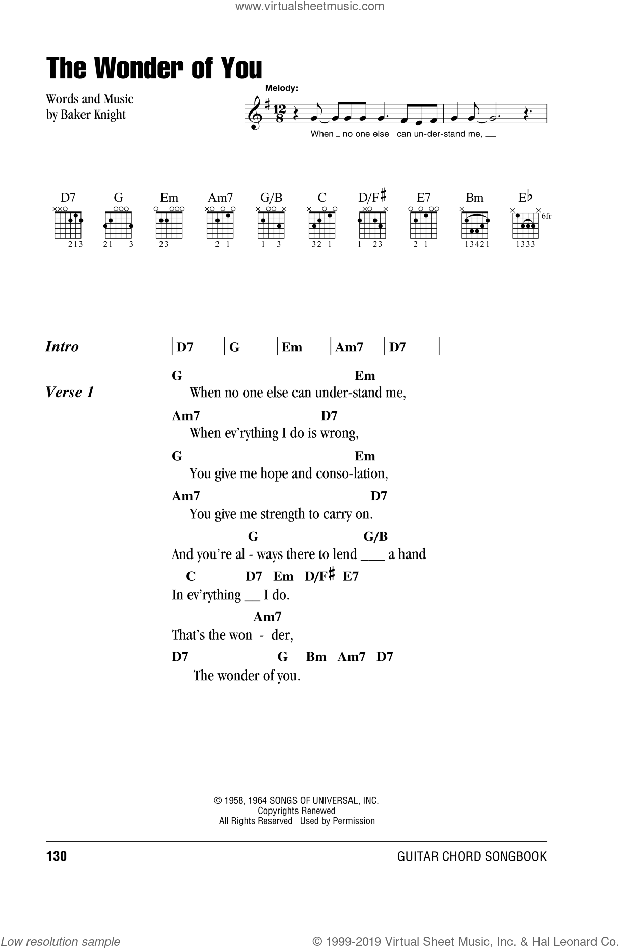 The Wonder Of You sheet music for guitar (chords) by Elvis Presley. Score Image Preview.