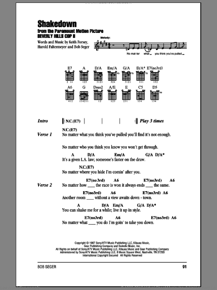 Shakedown sheet music for guitar (chords) by Bob Seger, Harold Faltermeyer and Keith Forsey. Score Image Preview.