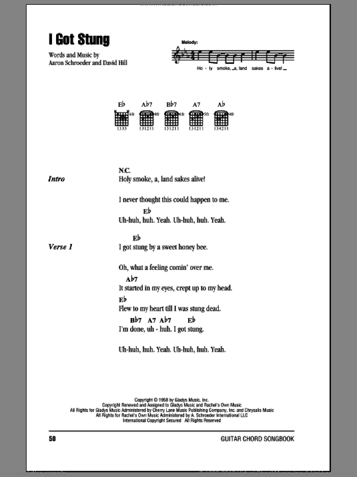 I Got Stung sheet music for guitar (chords) by Elvis Presley, Aaron Schroeder and David Hill, intermediate. Score Image Preview.