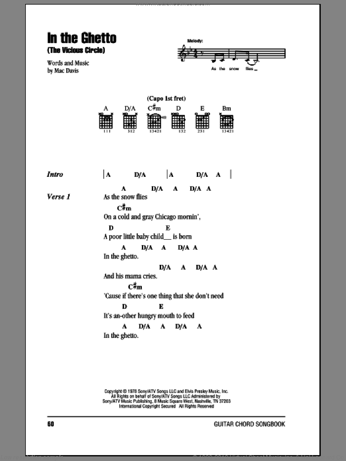 In The Ghetto (The Vicious Circle) sheet music for guitar (chords, lyrics, melody) by Elvis Presley