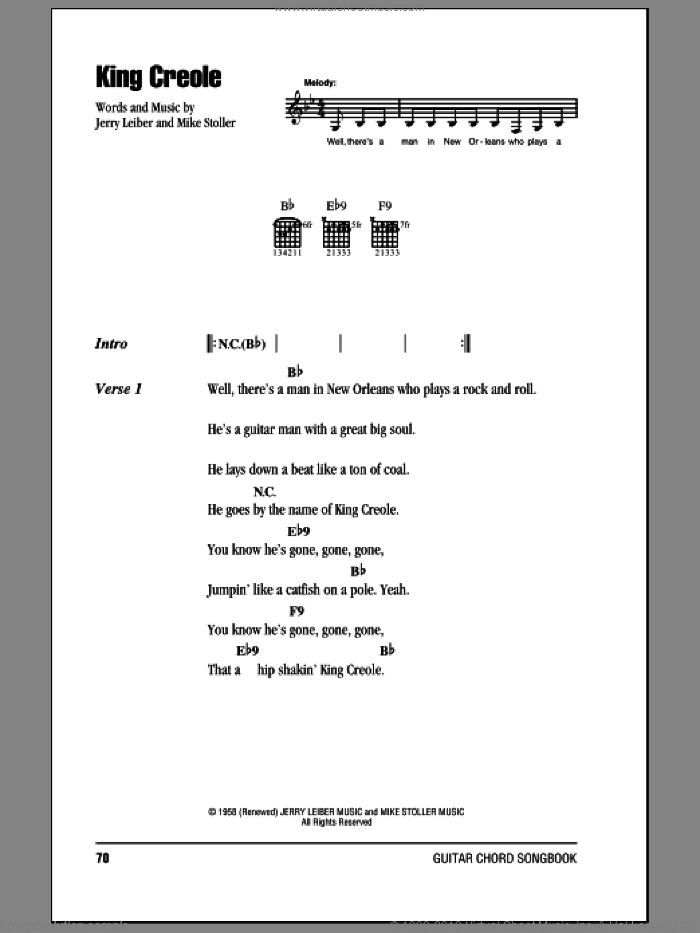 King Creole sheet music for guitar (chords) by Elvis Presley, Leiber & Stoller and Mike Stoller, intermediate. Score Image Preview.