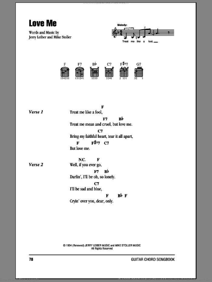 Love Me sheet music for guitar (chords) by Mike Stoller, Elvis Presley and Jerry Leiber. Score Image Preview.