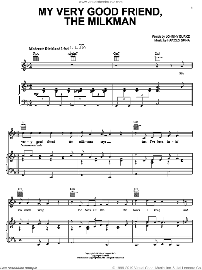 My Very Good Friend, The Milkman sheet music for voice, piano or guitar by John Burke