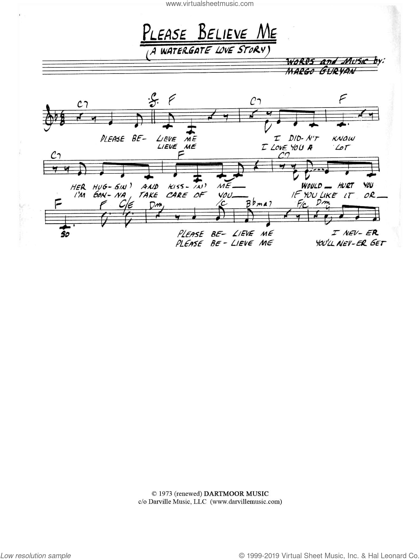 Please Believe Me (A Watergate Love Story) sheet music for voice and other instruments (fake book) by Margo Guryan, intermediate skill level