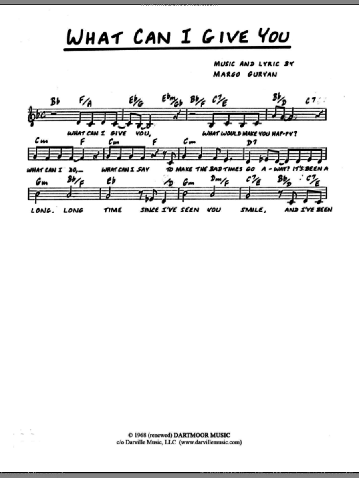 What Can I Give You sheet music for voice and other instruments (fake book) by Margo Guryan. Score Image Preview.