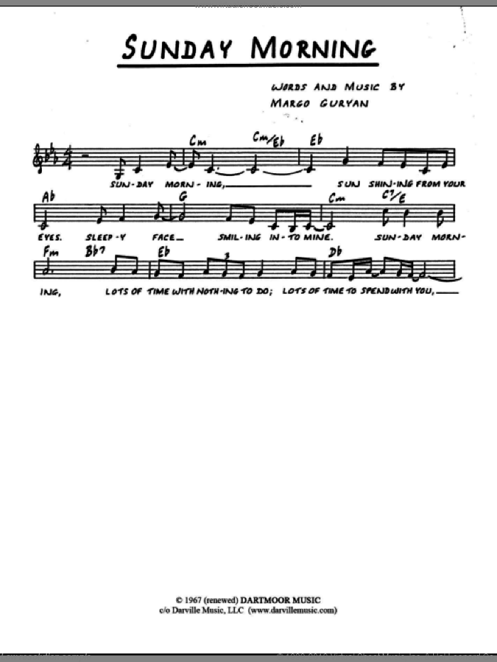 Sunday Morning sheet music for voice and other instruments (fake book) by Margo Guryan, intermediate skill level