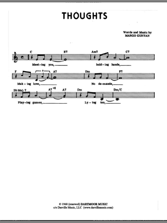Thoughts sheet music for voice and other instruments (fake book) by Margo Guryan. Score Image Preview.