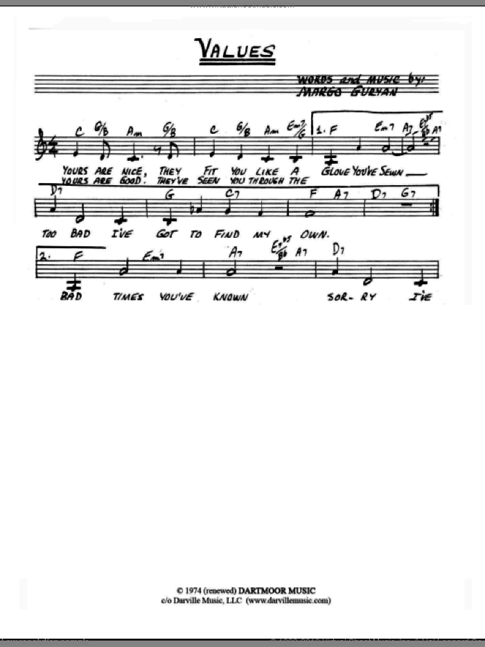 Values sheet music for voice and other instruments (fake book) by Margo Guryan. Score Image Preview.
