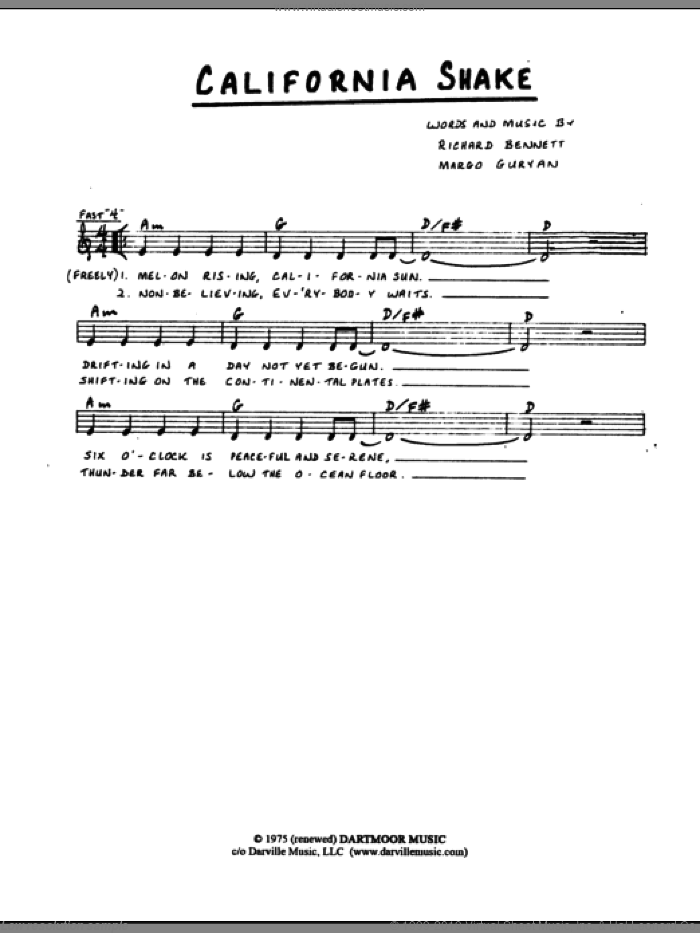 California Shake sheet music for voice and other instruments (fake book) by Margo Guryan and Richard Bennett, intermediate. Score Image Preview.