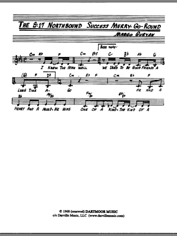 The 8:17 Northbound Success Merry-Go-Round sheet music for voice and other instruments (fake book) by Margo Guryan, intermediate