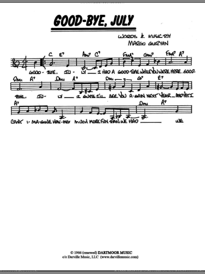Good-Bye, July sheet music for voice and other instruments (fake book) by Margo Guryan. Score Image Preview.