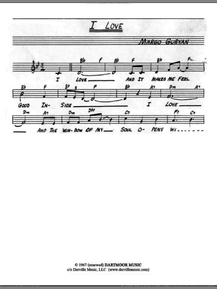 I Love sheet music for voice and other instruments (fake book) by Margo Guryan, intermediate
