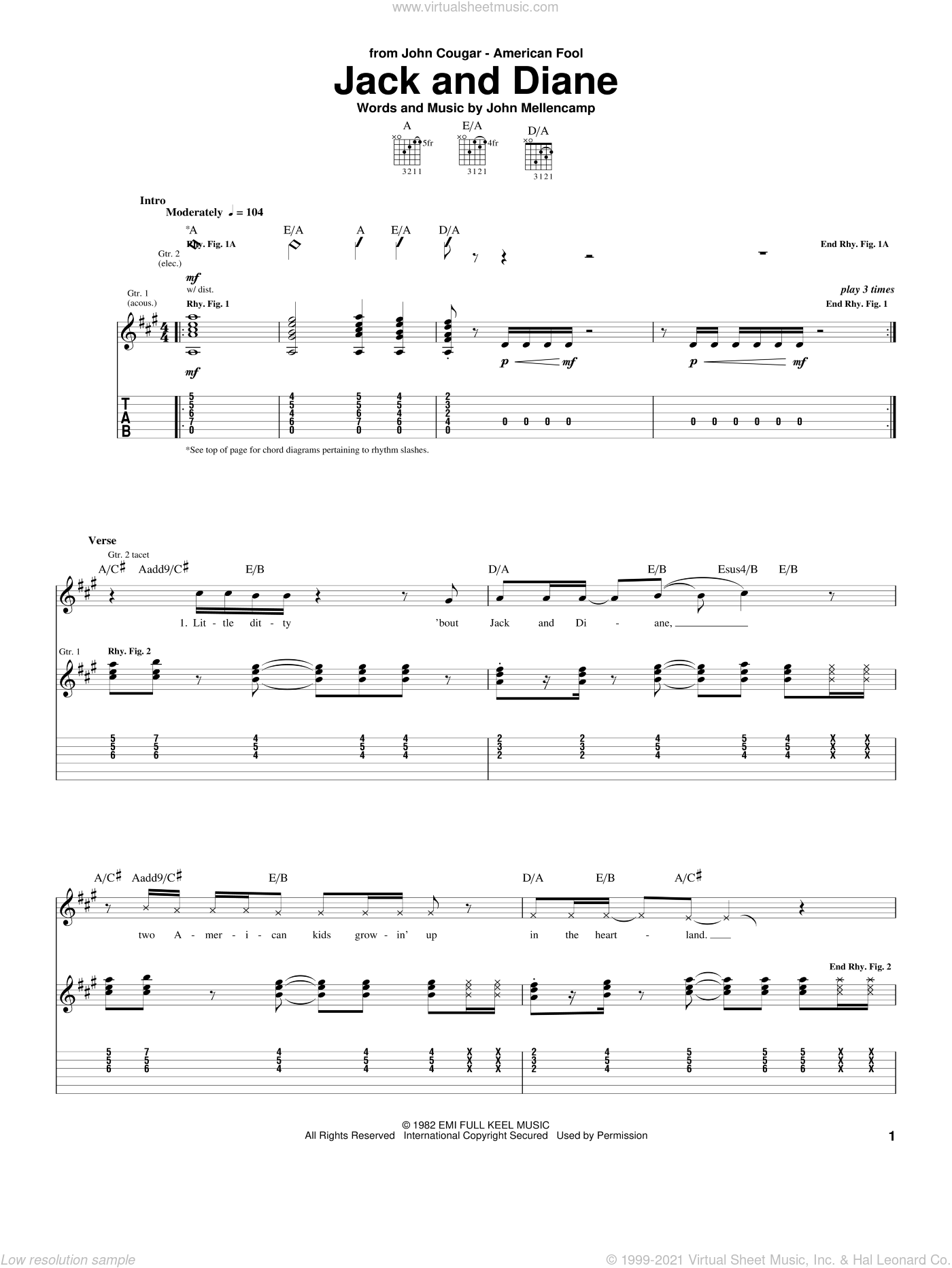 Jack And Diane sheet music for guitar (tablature) by John Mellencamp. Score Image Preview.