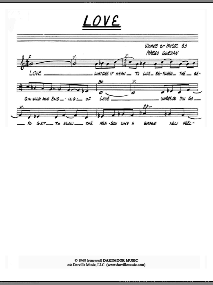 Love sheet music for voice and other instruments (fake book) by Margo Guryan. Score Image Preview.