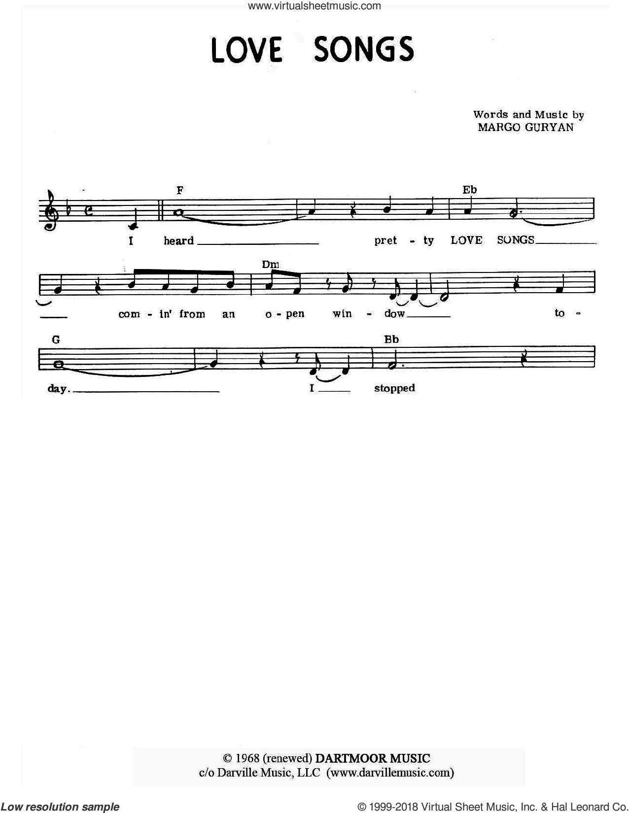 Love Songs sheet music for voice and other instruments (fake book) by Margo Guryan. Score Image Preview.