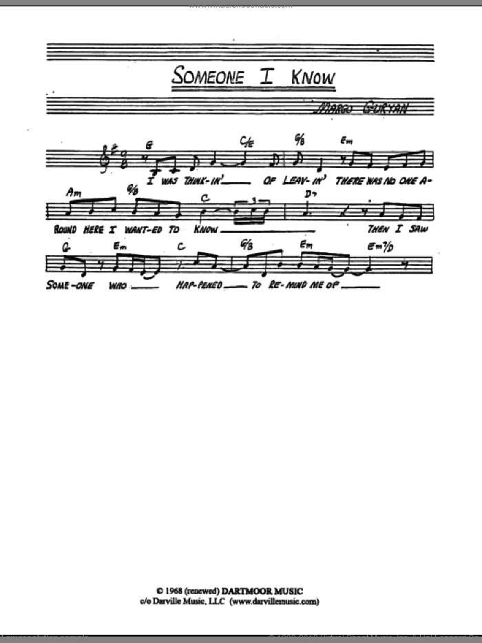 Someone I Know sheet music for voice and other instruments (fake book) by Margo Guryan. Score Image Preview.