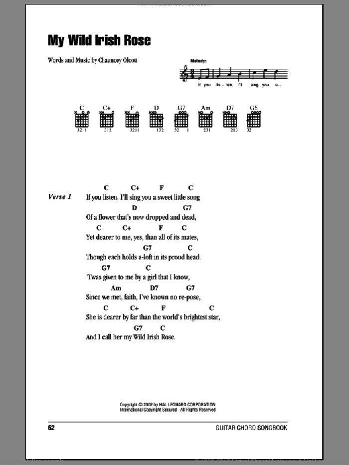 My Wild Irish Rose sheet music for guitar (chords) by Chauncey Olcott