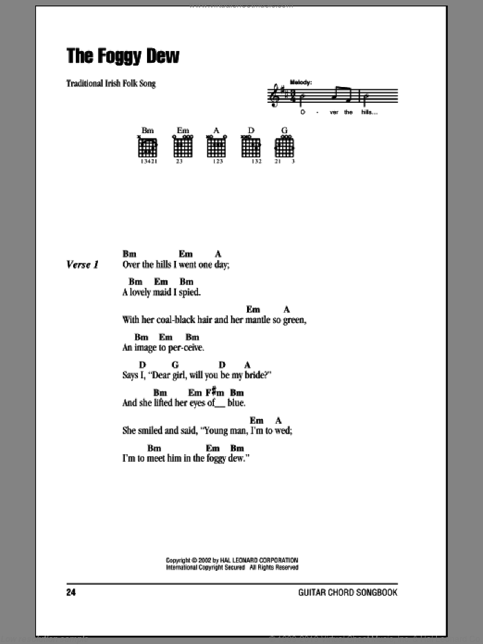 The Foggy Dew sheet music for guitar (chords, lyrics, melody)