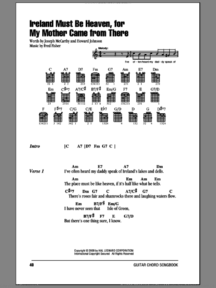 Ireland Must Be Heaven, For My Mother Came From There sheet music for guitar (chords, lyrics, melody) by Howard Johnson