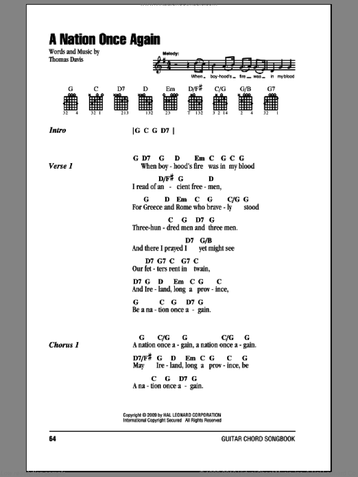 A Nation Once Again sheet music for guitar (chords) by Thomas Davis