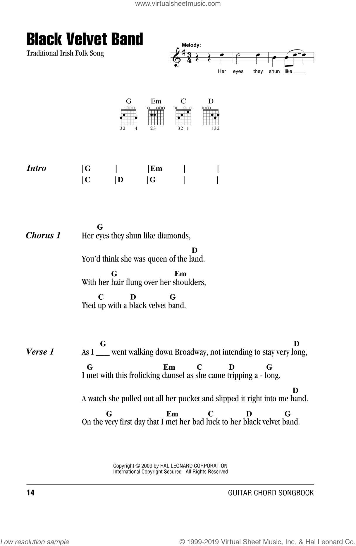 The Black Velvet Band sheet music for guitar (chords), intermediate skill level