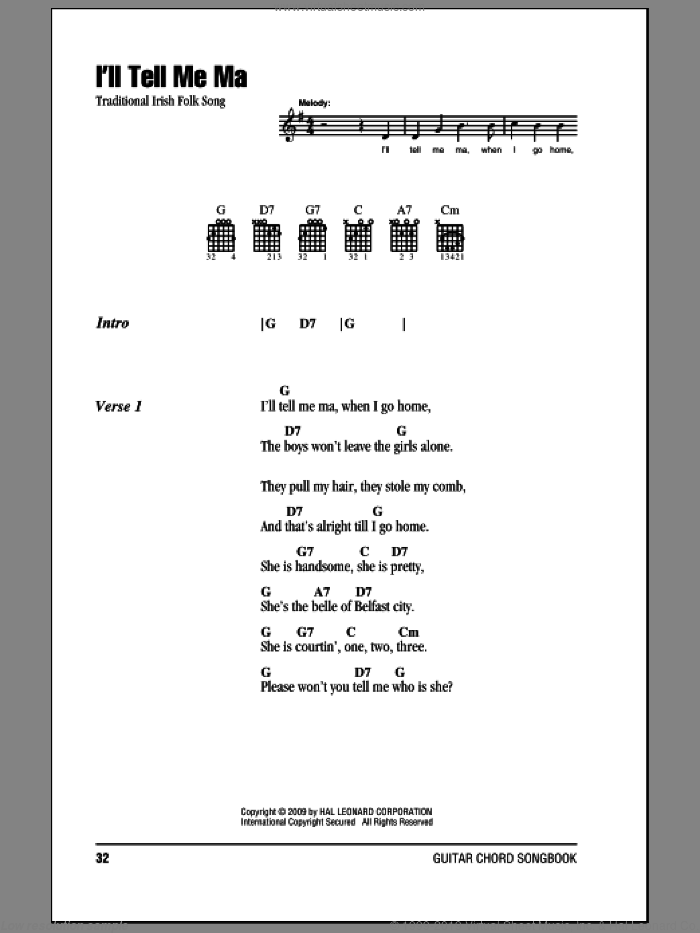 I'll Tell Me Ma sheet music for guitar (chords). Score Image Preview.