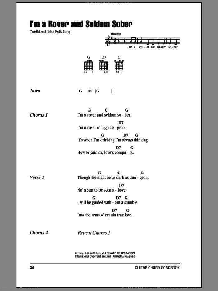 I'm A Rover And Seldom Sober sheet music for guitar (chords). Score Image Preview.
