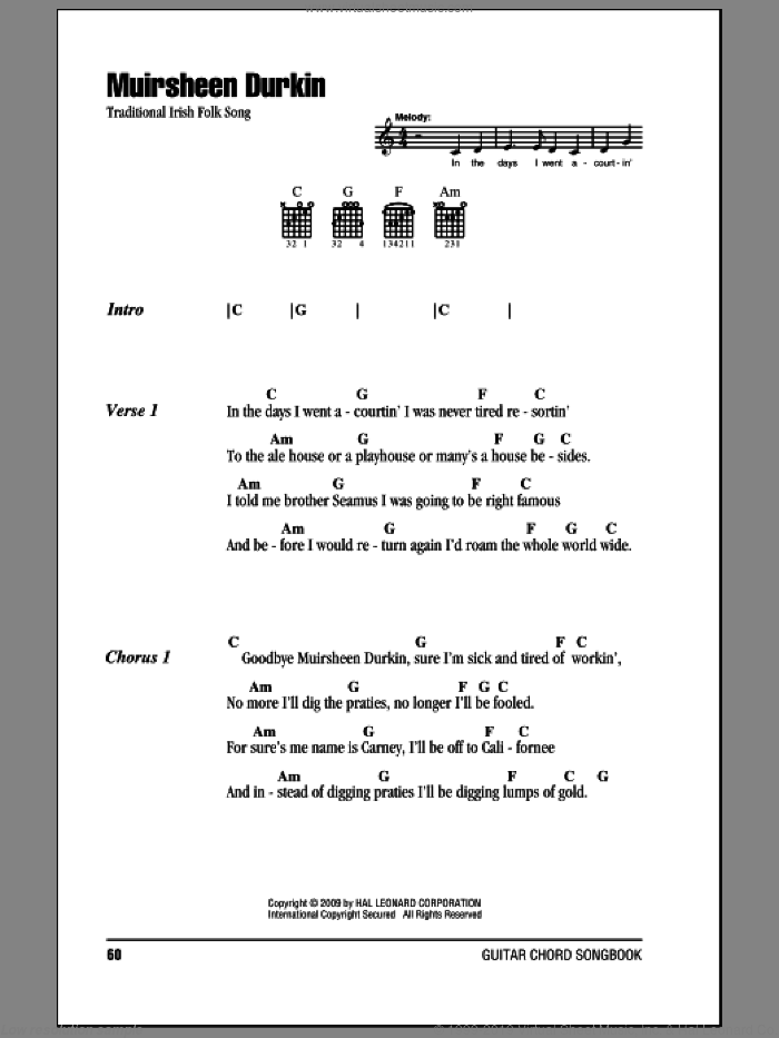 Muirsheen Durkin sheet music for guitar (chords). Score Image Preview.
