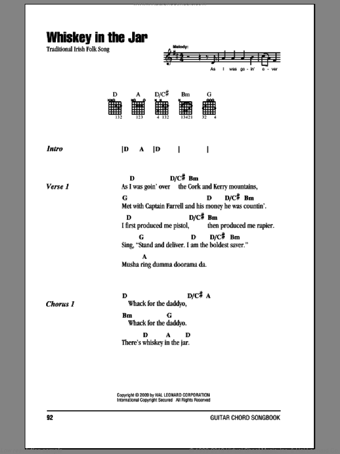 Whiskey In The Jar sheet music for guitar (chords), intermediate. Score Image Preview.