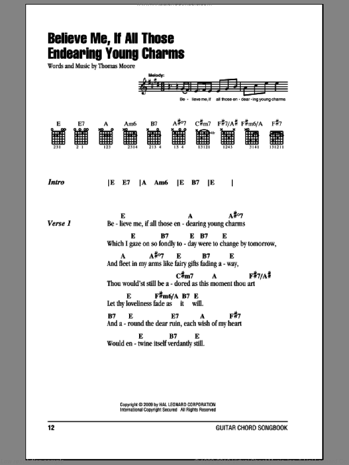 Believe Me, If All Those Endearing Young Charms sheet music for guitar (chords) by Thomas Moore. Score Image Preview.